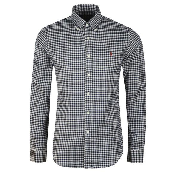 Polo Ralph Lauren Mens Blue Slim Fit Soft Cotton Check Shirt