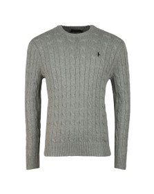Polo Ralph Lauren Mens Grey Crew Neck Cable Knit
