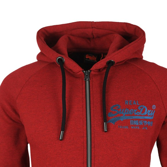 Superdry Mens Red Vintage Logo Monochrome Zip Hoodie main image