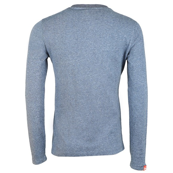Superdry Mens Blue OL Twill Texture LS T-Shirt main image