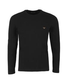 Emporio Armani Mens Black Small Logo Stretch Long Sleeve T Shirt