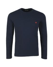 Emporio Armani Mens Blue Small Logo Stretch Long Sleeve T Shirt