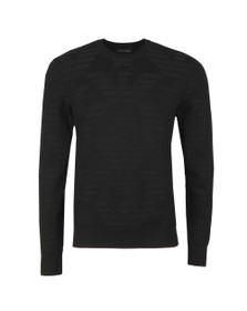 Emporio Armani Mens Black Textured Crew Neck Jumper