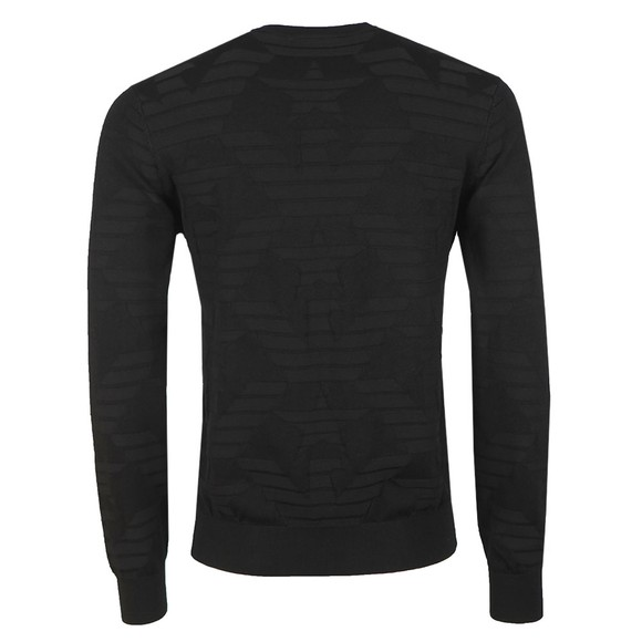 Emporio Armani Mens Black Textured Crew Neck Jumper main image