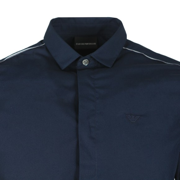 Emporio Armani Mens Blue 6G1C65 Plain Shirt main image