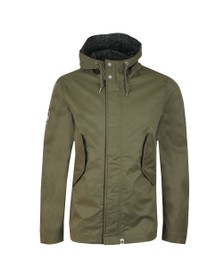 Pretty Green Mens Green Cotton Zip Up Hooded Jacket