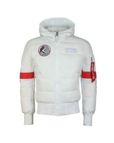 Alpha Industries Mens White FD Apollo Hooded Puffer Jacket