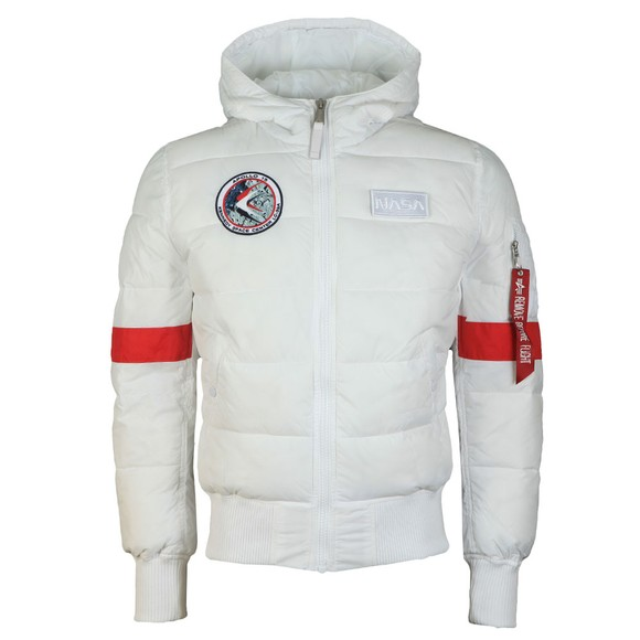 Alpha Industries Mens White FD Apollo Hooded Puffer Jacket main image