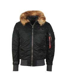 Alpha Industries Mens Black MA-1 Hooded Fur Jacket
