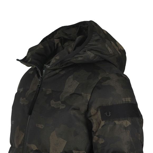 True Religion Mens Green Camouflage Down Jacket