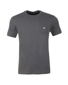 Emporio Armani Mens Grey Stretch Small Logo Crew Neck T-Shirt