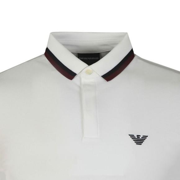 Emporio Armani Mens White Double Coloured Collar Polo Shirt main image