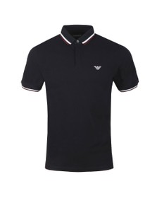 Emporio Armani Mens Blue Double Coloured Collar Polo Shirt