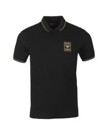 Emporio Armani Mens Black Gold Logo Polo Shirt