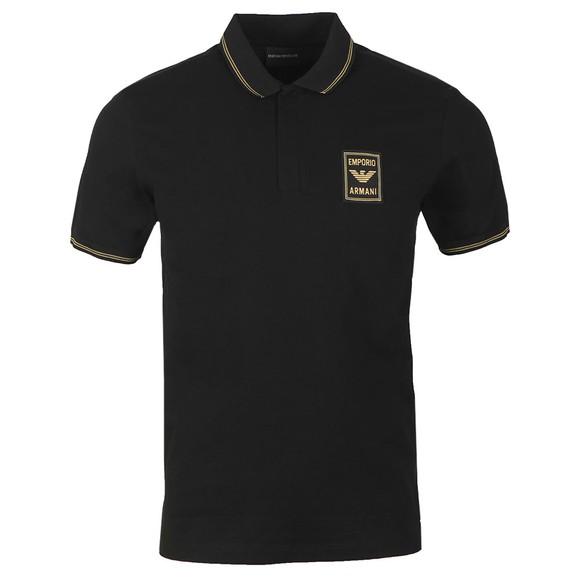 Emporio Armani Mens Black Gold Logo Polo Shirt main image