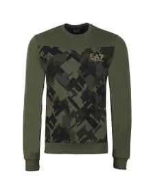 EA7 Emporio Armani Mens Green Camo Sweatshirt