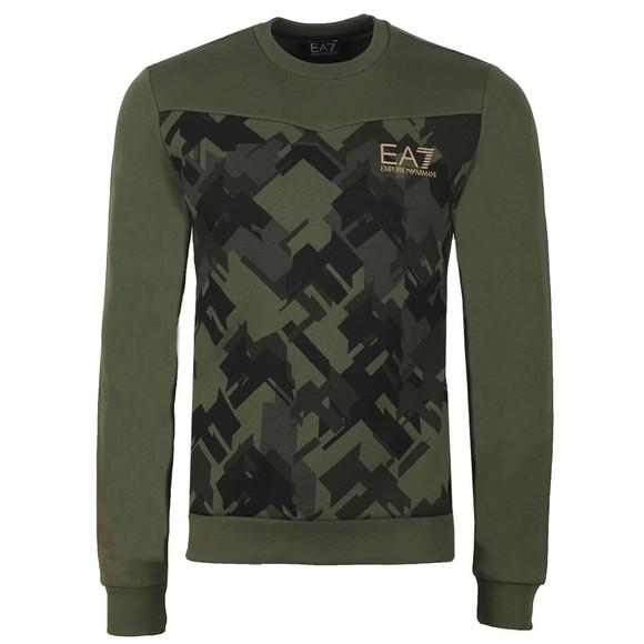EA7 Emporio Armani Mens Green Camo Sweatshirt main image
