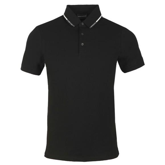 Emporio Armani Mens Black Jersey Emporio Collar Polo Shirt
