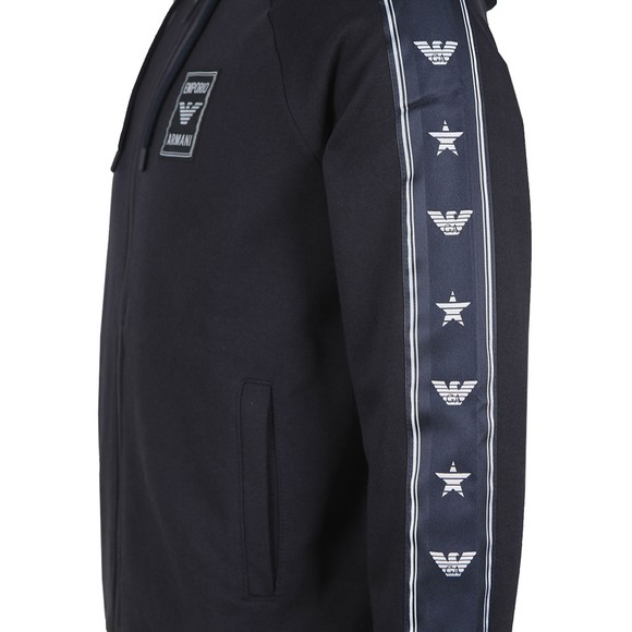 Emporio Armani Mens Blue Gold Tape Logo Hoody