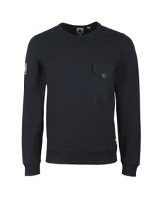 Pretty Green Mens Blue Woven Pocket Crew Sweat