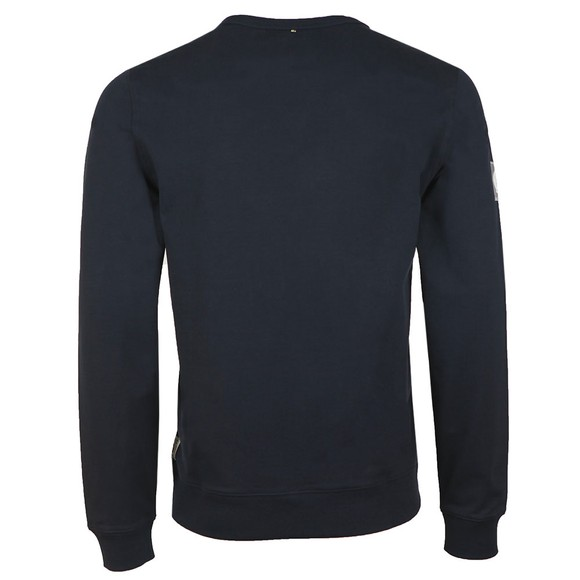 Pretty Green Mens Blue Woven Pocket Crew Sweat main image