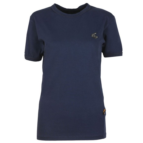 Vivienne Westwood Anglomania Womens Blue New Classic Badge T Shirt