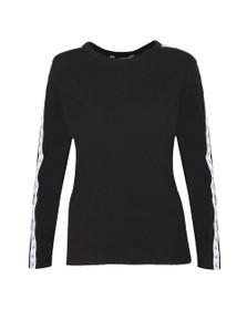Calvin Klein Jeans Womens Black Long-Sleeve Logo Tape T-Shirt