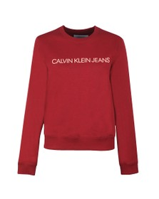 Calvin Klein Jeans Womens Red Large Logo Sweatshirt