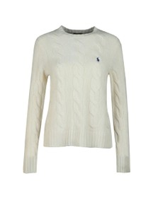 Polo Ralph Lauren Womens White Cable Knitted Wool Jumper