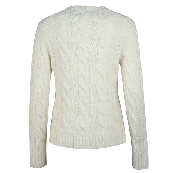Polo Ralph Lauren Womens White Cable Knitted Wool Jumper main image