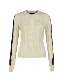 Polo Ralph Lauren Womens Off-White Julianna Stripe Cable Knit Jumper