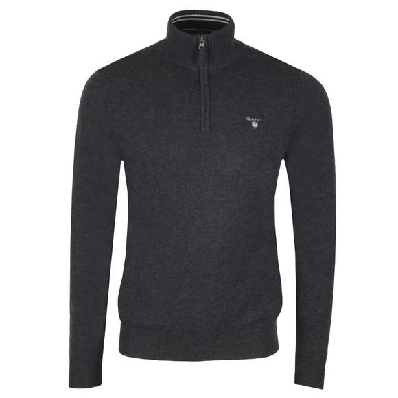 Gant Mens Grey Super Fine Lambswool Zip Jumper main image