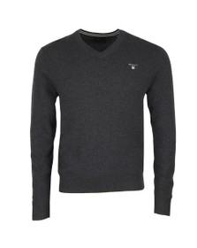 Gant Mens Grey Superfine Lambswool V-Neck Jumper