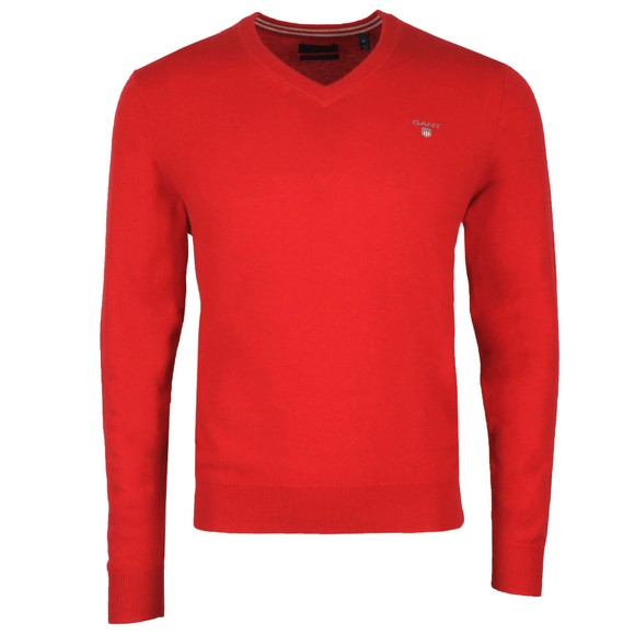 Gant Mens Red Superfine Lambswool V-Neck Jumper