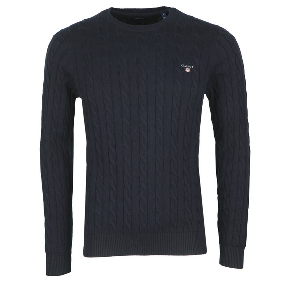 Gant Mens Blue Cotton Cable Crew Jumper