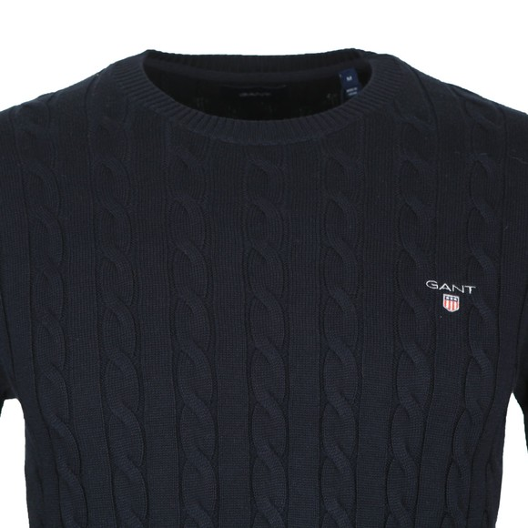 Gant Mens Blue Cotton Cable Crew Jumper main image