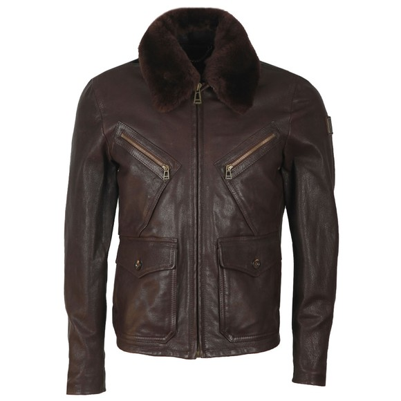 Belstaff Mens Brown Conner Jacket With Shearling Collar main image