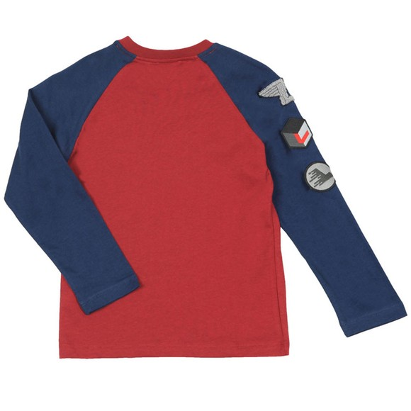 Lanvin Boys Red Contrast Sleeve T Shirt