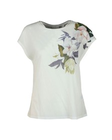Ted Baker Womens White Sellie Opal Printed Woven Front Tee
