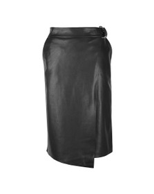 Ted Baker Womens Black Dyanah Faux Leather Wrap Skirt