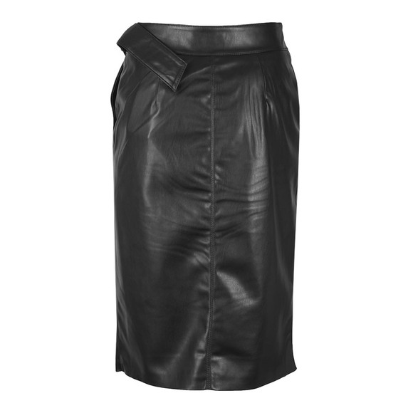 Ted Baker Womens Black Dyanah Faux Leather Wrap Skirt main image