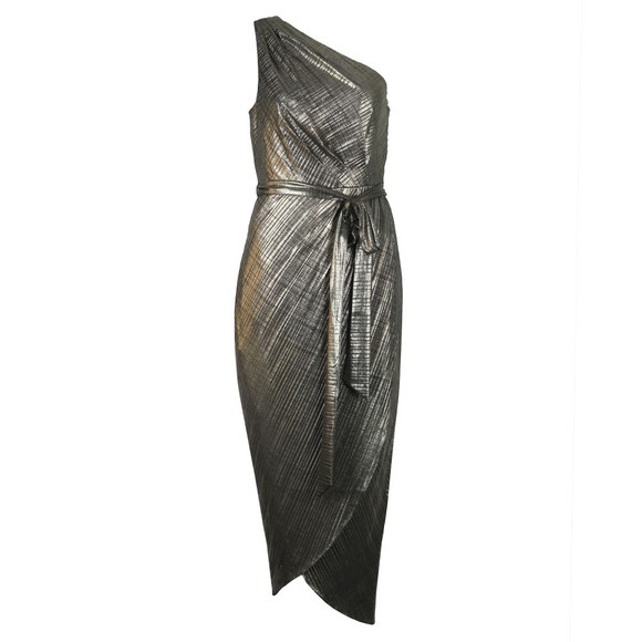 Ted Baker Womens Gold Gabria One Shoulder Drape Midi Dress