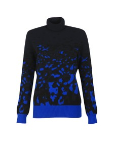 Ted Baker Womens Blue Nulina Leopard Jacquard Roll Neck Jumper