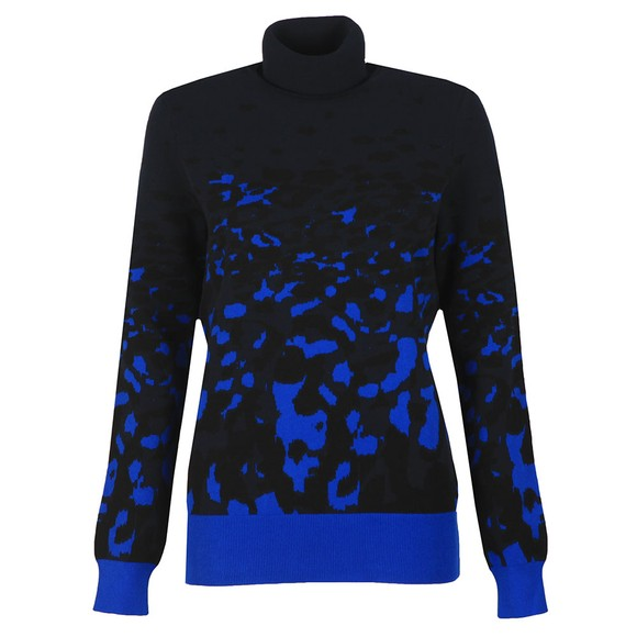 Ted Baker Womens Blue Nulina Leopard Jacquard Roll Neck Jumper main image