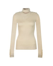 Holland Cooper Womens Beige Button Metallic Roll Neck Knit