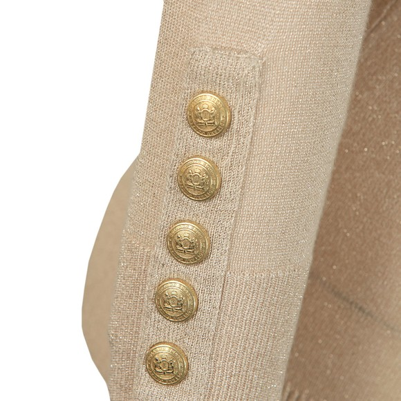 Holland Cooper Womens Beige Button Metallic Roll Neck Knit main image
