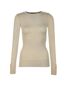 Holland Cooper Womens Beige Button Metallic Crew Neck Knit