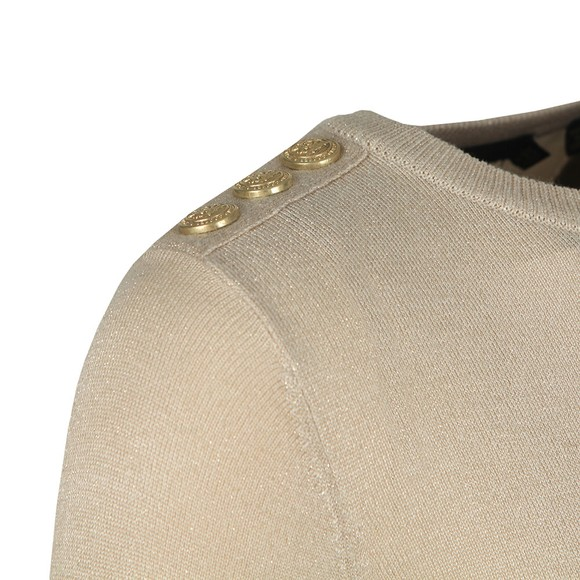 Holland Cooper Womens Beige Button Metallic Crew Neck Knit main image