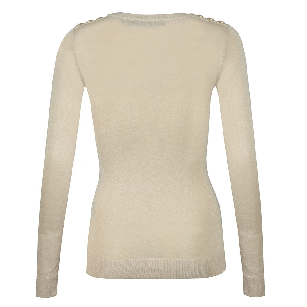 Button Metallic Crew Neck Knit main image