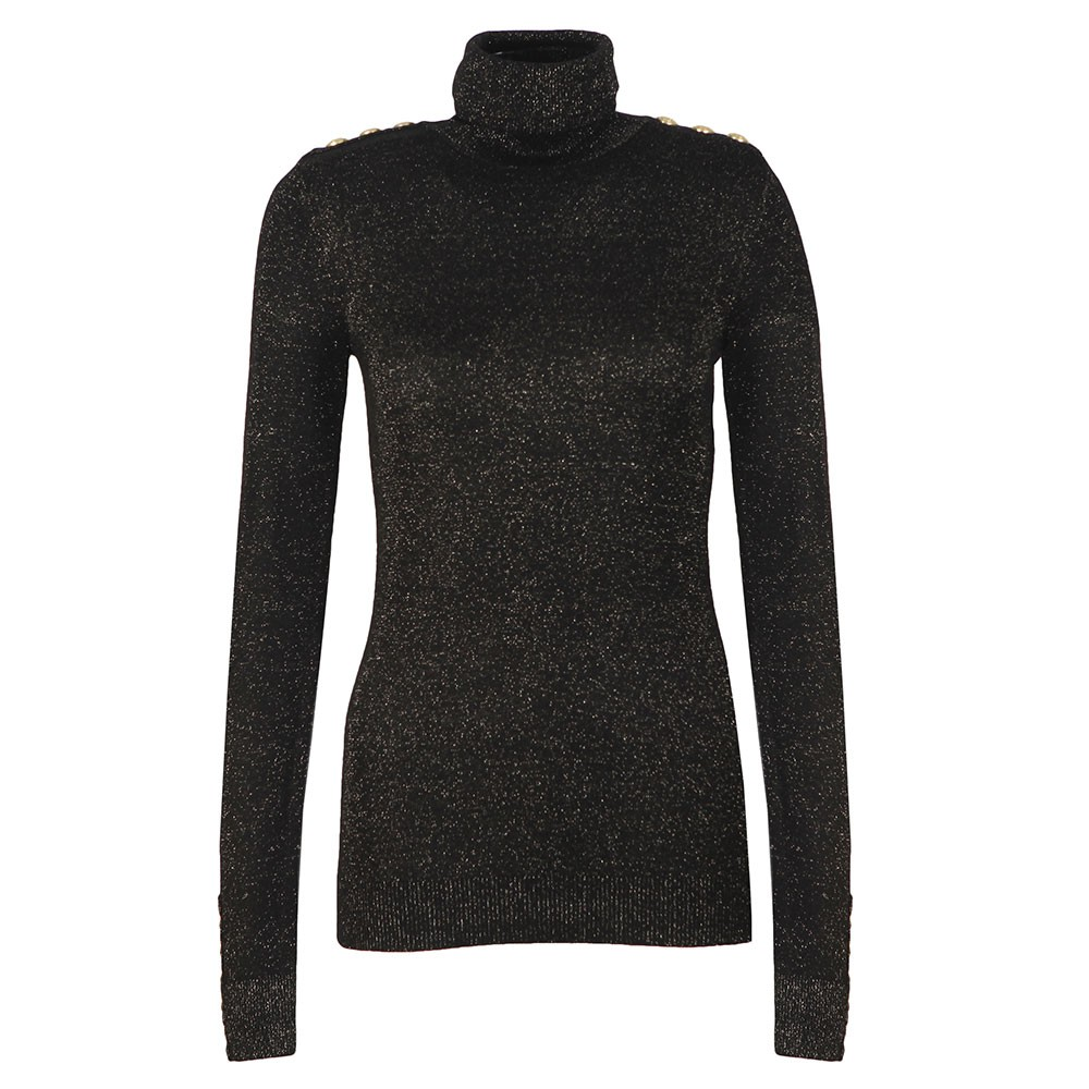 Button Metallic Roll Neck Knit main image
